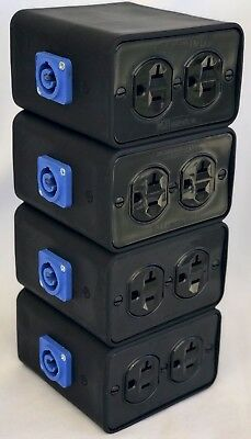 Powercon outlet box in & out with 4 Receptacles build to last, 4 Boxes!