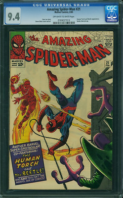Amazing Spider-Man #21 CGC 9.4 OW/W 2/65 Human Torch and Beetle