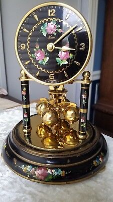 Vintage Kern & Sohne Anniversary Clock Black With Floral Design Made In Germany