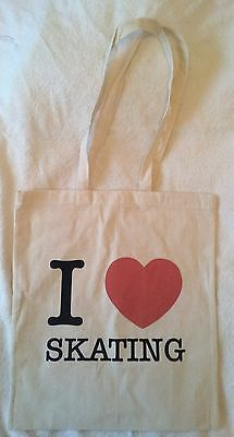 BRAND NEW I LOVE/ HEART ICE FIGURE SKATING COTTON SHOPPING TOTE BAG great gift