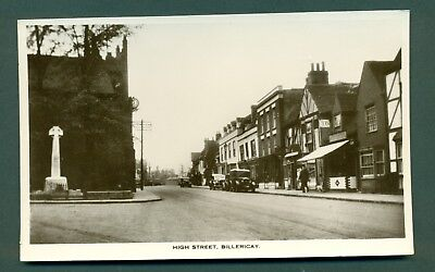 HIGH STREET,BILLERICAY WITH SHOPS, vintage postcard