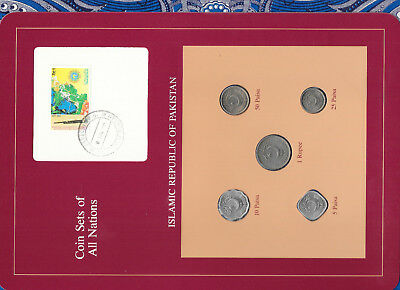 Coin Sets of All Nations Pakistan 1989-1991 UNC 1 Rupee,50,25,10 Paisa 1991 PINK