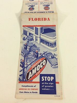 1950s AMOCO Road Map FLORIDA Inset Cuba No I-5 And No Disney World