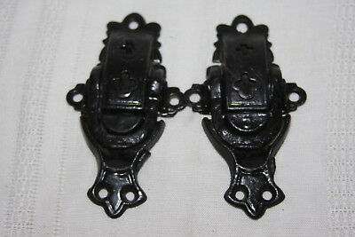 Antique Cast Iron Detailed Cross Pair of Trunk Lock Latch Hardware