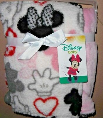 DISNEY MINNIE MOUSE super soft fleece BABY BLANKET! REVERSIBLE ... aeb48dd98