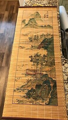 Excellent Chinese Hanging Scroll Art Painted On Bamboo Slats