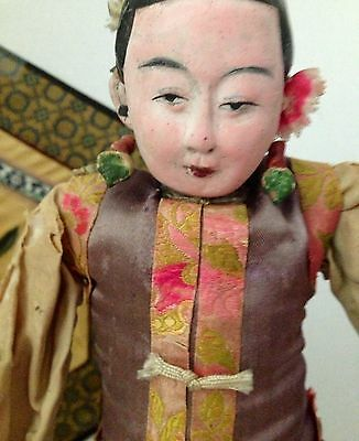"Antique Chinese 15"" Lady Opera Doll W/Beautiful Face and Long Braid"