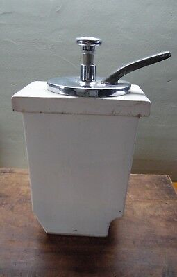 Vintage Vanilla Soda Fountain Syrup Dispensing Pump W/ White HALL 37 Container