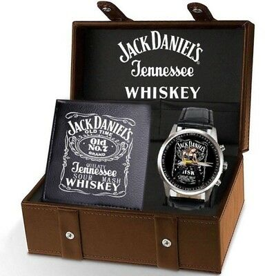 SALE!!! 2018 Hot New Jack Daniels Whiskey Leather Watch+Wallet Collection
