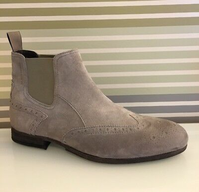 💯Genuine Hugo Boss Grey Suede Semi Brogue Chelsea Distressed Boots New 39 Uk 6