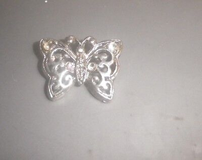 Vintage Crystal  Silver Butterfly 1980s Pendant /charm-  NZ antique Estate