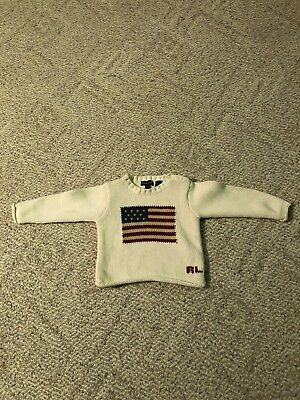 Girl Or Boy Toddler 2T Ralph Lauren Sweater White American Flag Knit Look
