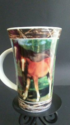 """Horse Mare with Foal Pictured Coffee Mug - For Horse Lovers- 6""""T"""