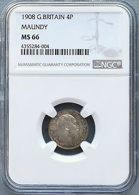 #1 Set In Ngc Registry - 1908 Great Britain Maundy 4 Coin Set Ngc Ms66