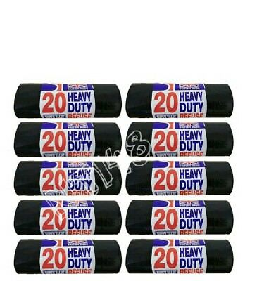 Heavy Duty Black Bin Liners Sacks Rubbish Thick Bags Refuse Strong British made.