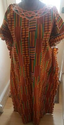 Beautiful African Kente print dress with Embroidery