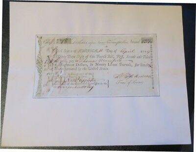 1779 Declaration of Independence Signer FRANCIS HOPKINSON Autograph Debt Bill