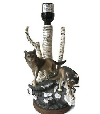 Spirit Wolf Forest Table Lamp Wolves Statue Sculpture Light Lamps NO Shade A0153