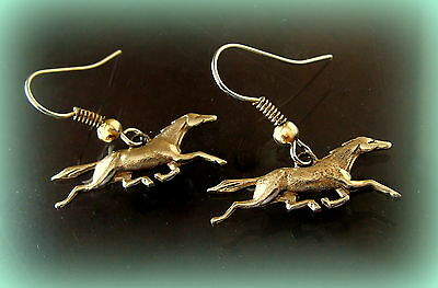 HORSES EARRINGS Jewelry-Art Nouveau Vintage Antique Westerm Style Running Horses