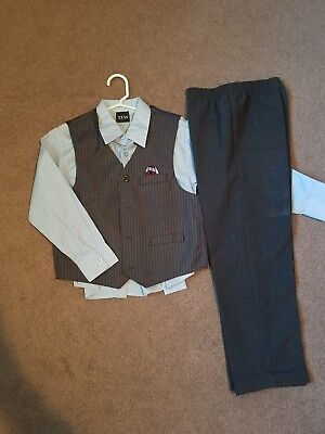 Boys 3pc. Gray Dressy Pants, Shirt & Vest 7