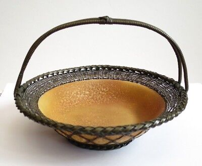 Vintage/Antique Japanese Ceramic Bowl With Woven Metal Handcrafted 1910/20s