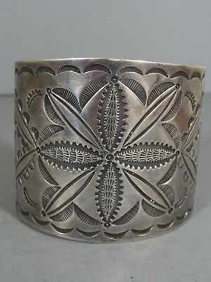 GORGEOUS Wide Vintage NAVAJO Stamped Silver Cuff Bracelet