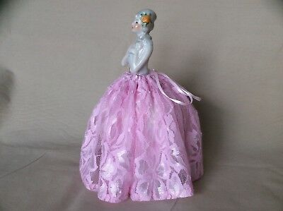 Vintage Porcelain Half Doll, Collectible Doll  Pincushion Removable Pink Skirt