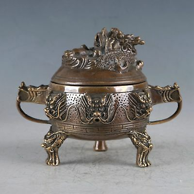 Chinese Rare Brass Unicorn Incense Burner Made During The Daming Xuande HT0006
