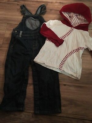 Gymboree Baseball Champ Boys Outfit Overalls Size 2T