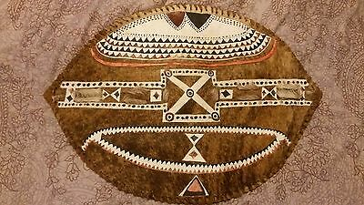 "Vintage hand painted African warrior shield, hide & wood 23"" X 16.5"""