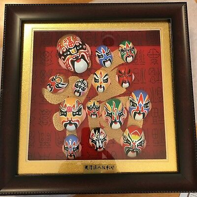 Chinese Painted Masks (14) Framed in Glass Clay Zhang Ceramic Art