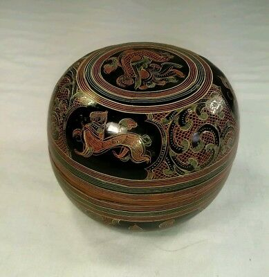 """Vintage Chinese Lacquer Painted Round Lidded Dragon Box, 4"""" Diameter x 3"""" High"""