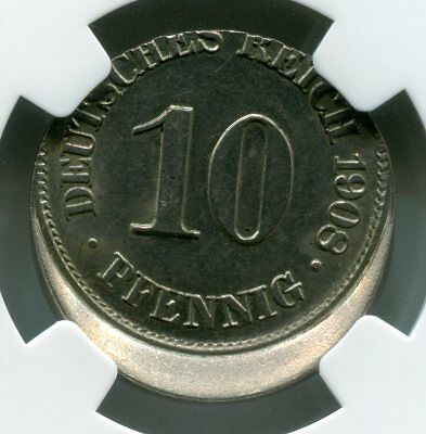 Germany 10 Pfennig 1908-A Struck 15% Off Center Ngc Ms63  Nice!