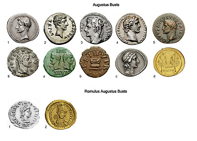 Digital List of Ancient Roman Coins from 27 BC to 518 AD of 201 Roman rulers.