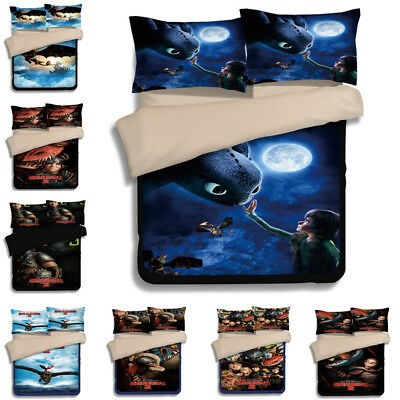 How To Train Your Dragon Quilt Doona Cover Set Single Queen King Size Pillowcase