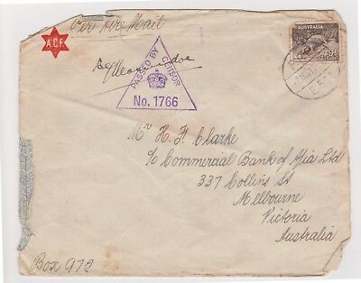 (K66-24) 1940s AU 9d envelope WWII passed by censor 1766 (X)