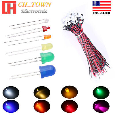 1.8 2 3 5 8 10mm LED Diodes Diffused White Red Green RGB Kits Assorted Lights US