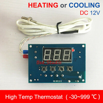 DC 12V High Temperature Digital LED Thermostat Temp Cool/Heat Controller Switch