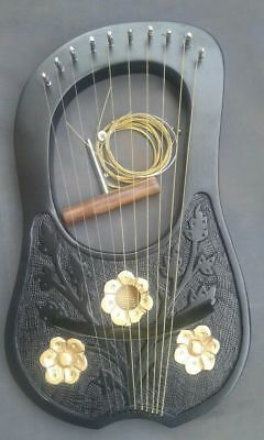 NEW Lyre harp 10 Metal Strings Rosewood With Black Bag and Tuning Key