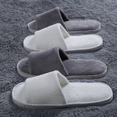 1/2 Pairs White/Grey Towelling Open Toe Hotel Slippers Spa Shoes Disposable