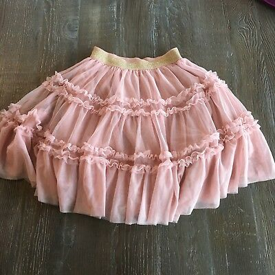 Girls Mini Boden Pink Ruffle Tulle Skirt W/ Gold Glitter Detail Size 9-10 Y