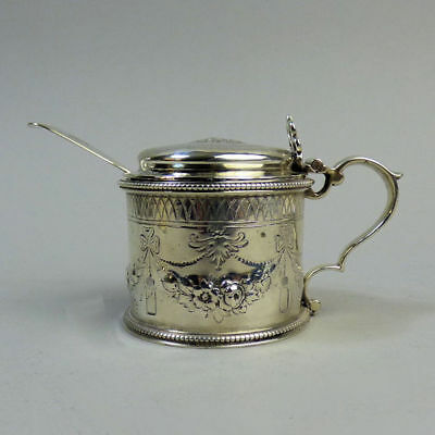 Victorian Antique Silver Mustard Pot & Spoon London 1866 & 1870 - 129 Grams