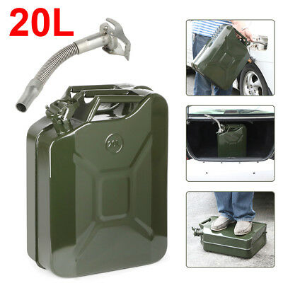 Jerry Fuel Can 20 Litre Army Green Metal Diesel Gasoline Petrol Oil + Spout