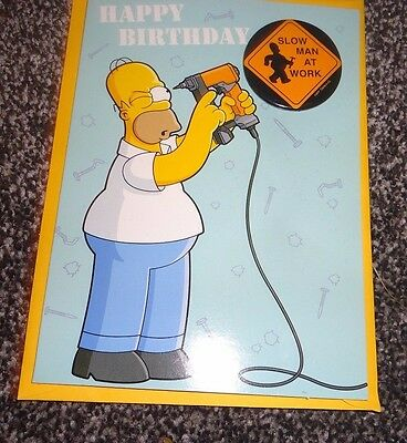 The Simpsons Homer Simpson Birthday Card Brand New With Badge