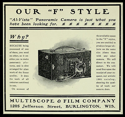 "1901 MULTISCOPE ""F"" Style Panoramic Plate CAMERA Antique Vintage PRINT AD"