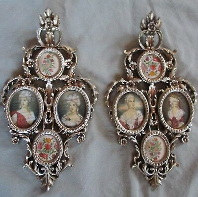 Pair of Large Vintage Ornate Italian Hand Carved Rococo Gold Gilt Wood Frames