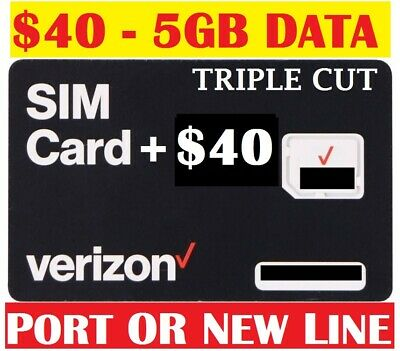 Verizon Wireless Prepaid SIM 4G LTE Preloaded First Month $40 Free Prefunded