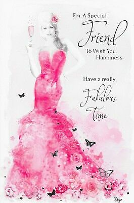 Special Friend Birthday Card Glamorous Women In Pink Dress M5