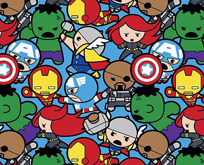 Marvel Avengers Kawaii All In The Pack Super Hero 100% Cotton Fabric