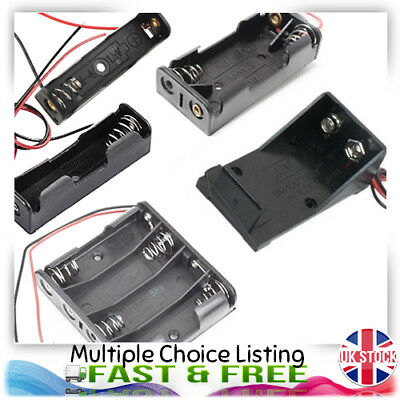AA AAA 9V PP3 Battery Cell Holder Open and Enclosed with Wire Multi Option UK